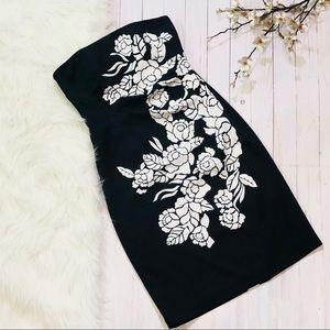 WHBM Black/White Strapless Ruched Waist Midi Dress